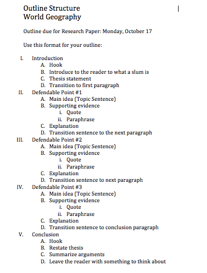 Format for a term paper outline