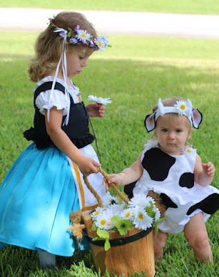 Milkmaid and daisy cow costume 1