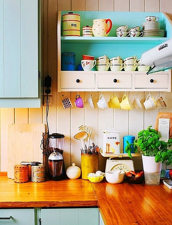 colorful cups and kitchen details