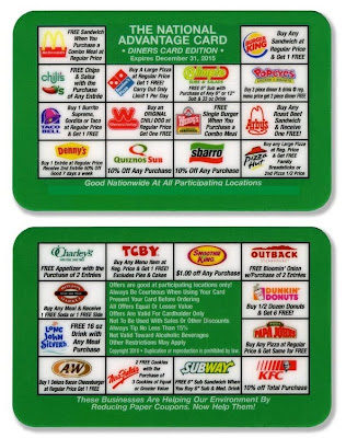 restaurant discount card