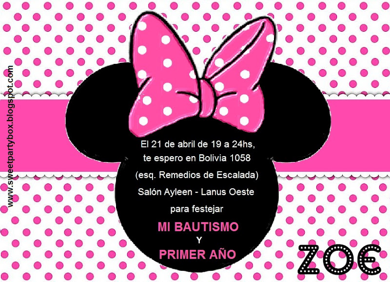 Invitaciones de 1 año de Minnie Mouse - Imagui