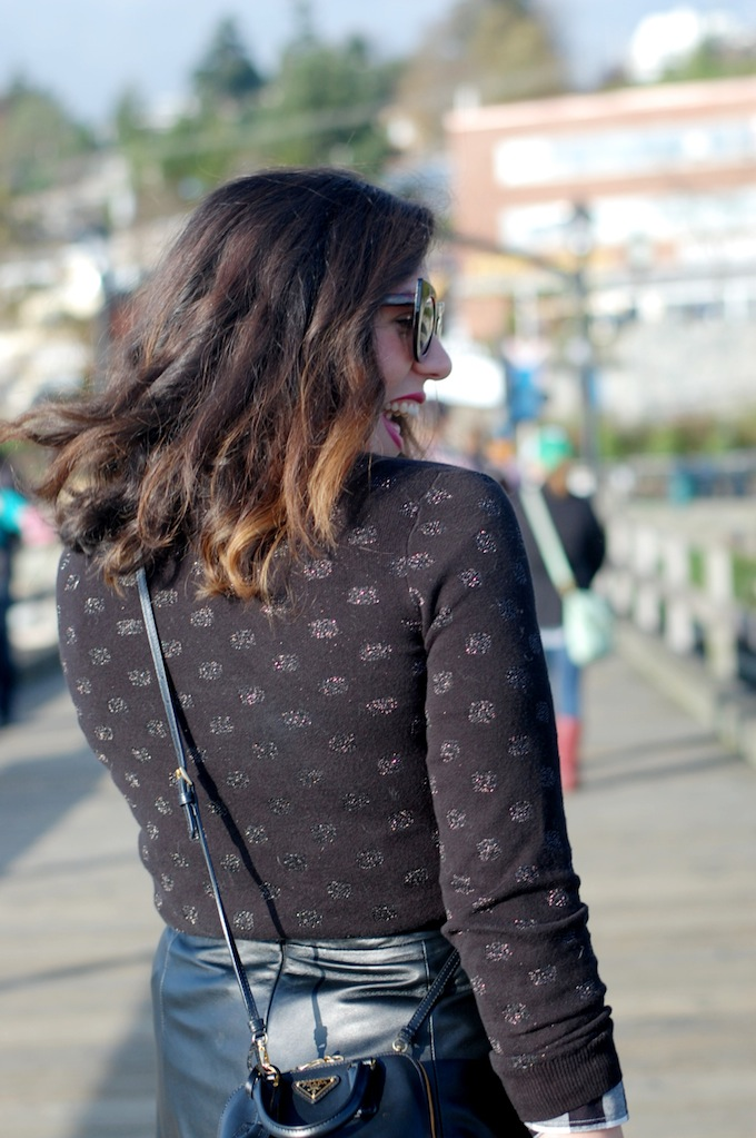 Polka dot sweater Vancouver fashion blogger