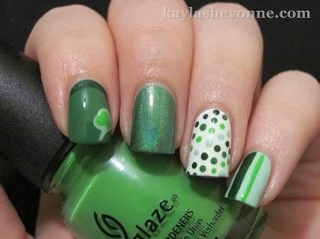 Uñas Pintadas para San Valentin, Color Verde