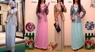 Naira Maxi Dress - Maxi Jersey dengan Bolero Songket  kombinasi Sifon
