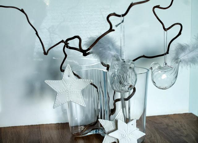 tähti, lasilintu, aaltovaasi, joulukoristeet