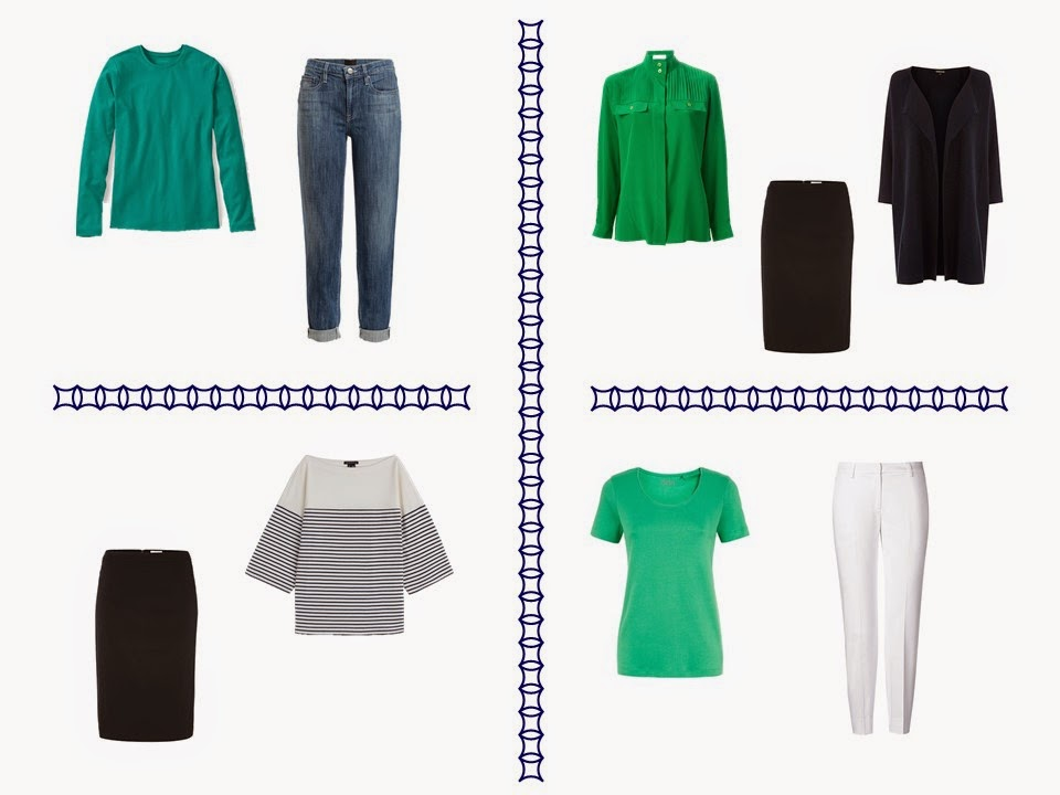 four outfits in navy and green