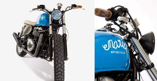 Triumph Street Tracker | Triumph Scrambler | Triumph Flat Tracker | Triumph Thruxton 900 'Mighty Blue' by Maria Motorcycles