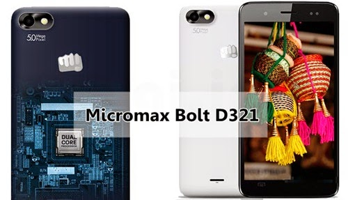 Micromax Bolt D321: 5 inch,1.3GHz Dual-core Android Phone Specs, Price