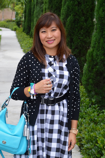 Pattern Mixing, black and white, polka dots and gingham, Fashion Over 40, Work Style, Office style
