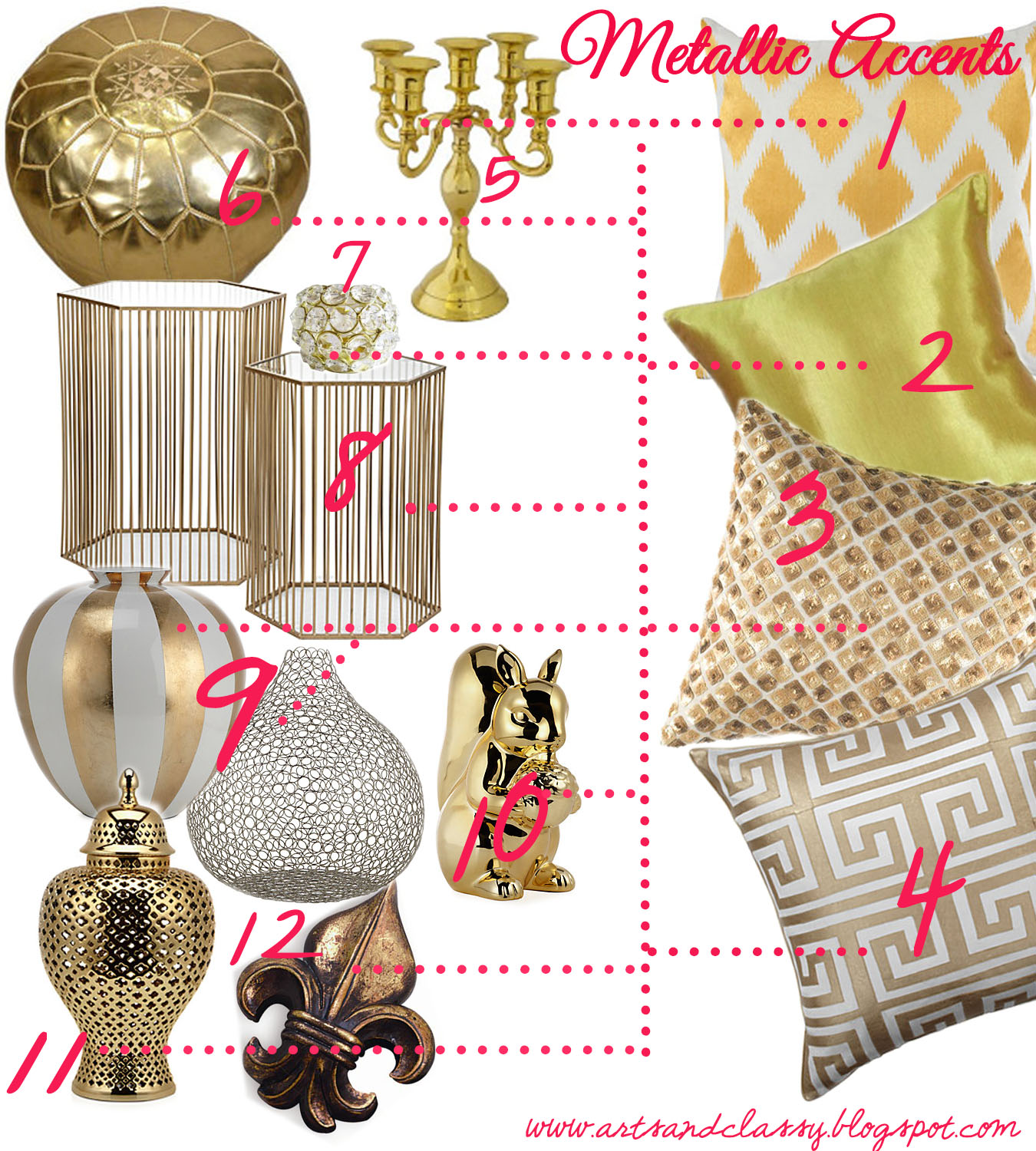 A Touch Of Glam Metallic Home Accents Arts And Classy