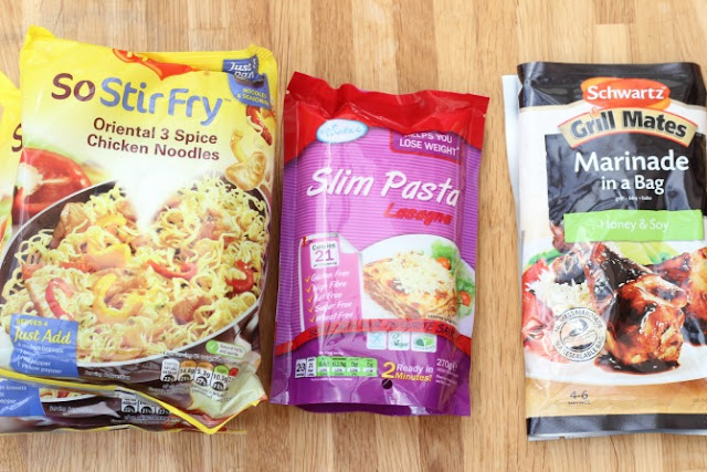 Maggi noodles, Slim Pasta and Marinade in a bag