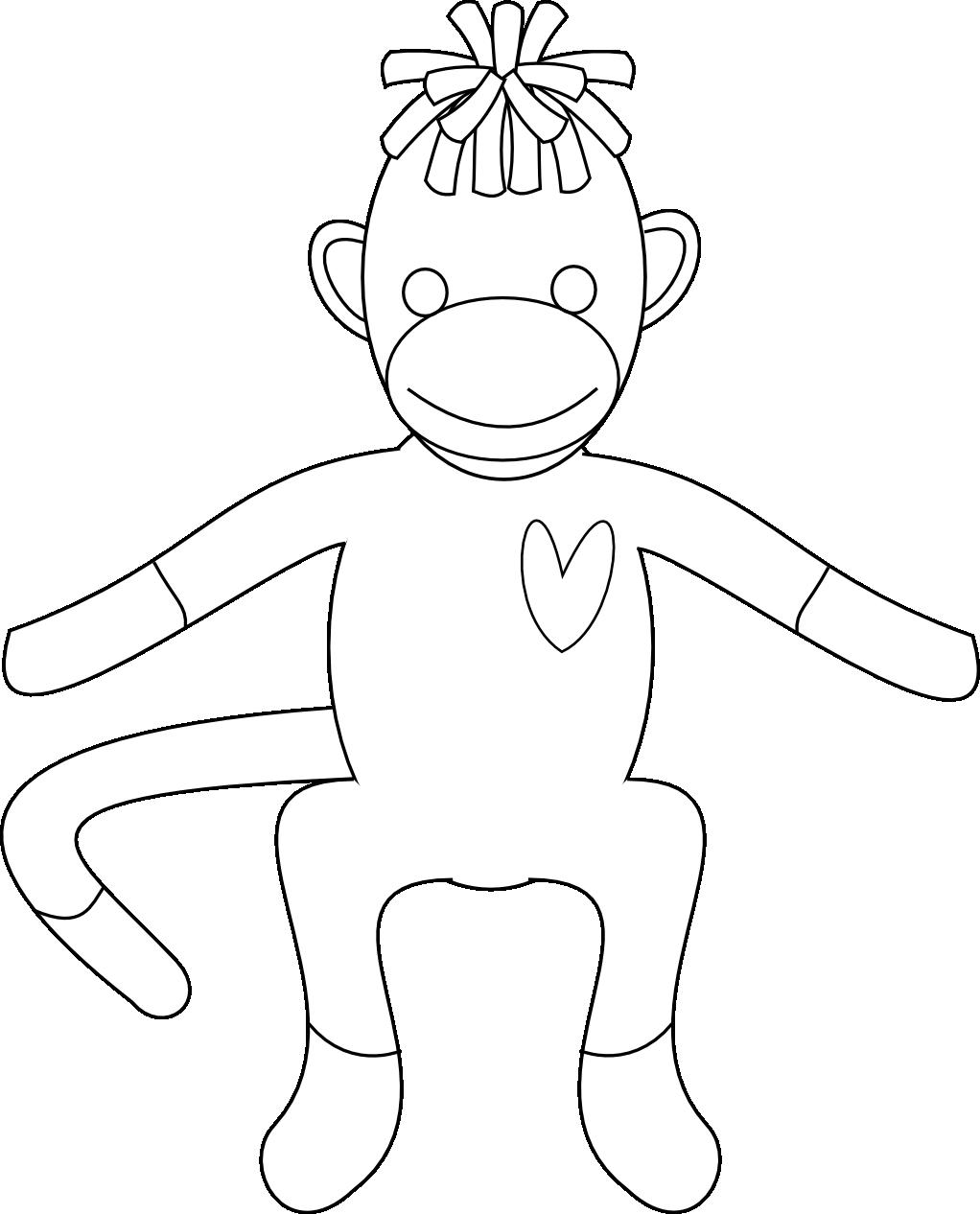 Sock monkey face coloring pages for Sock monkey face template