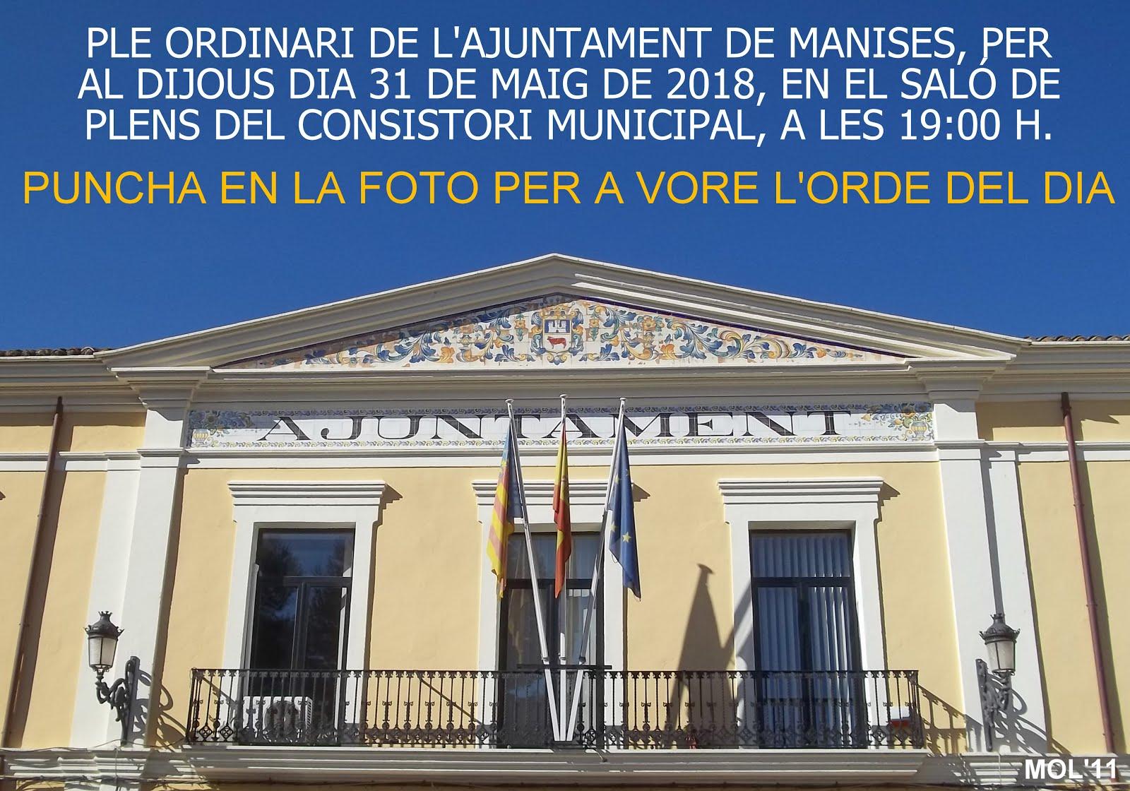 31.05.18 PLENO ORDINARIO DEL AYUNTAMIENTO DE MANISES DEL MES DE MAYO