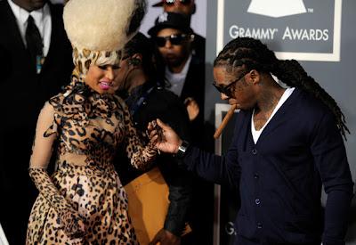Imagen de Lil Wayne y Nicki Minaj en la alfombra roja de los Grammy Awards 2011