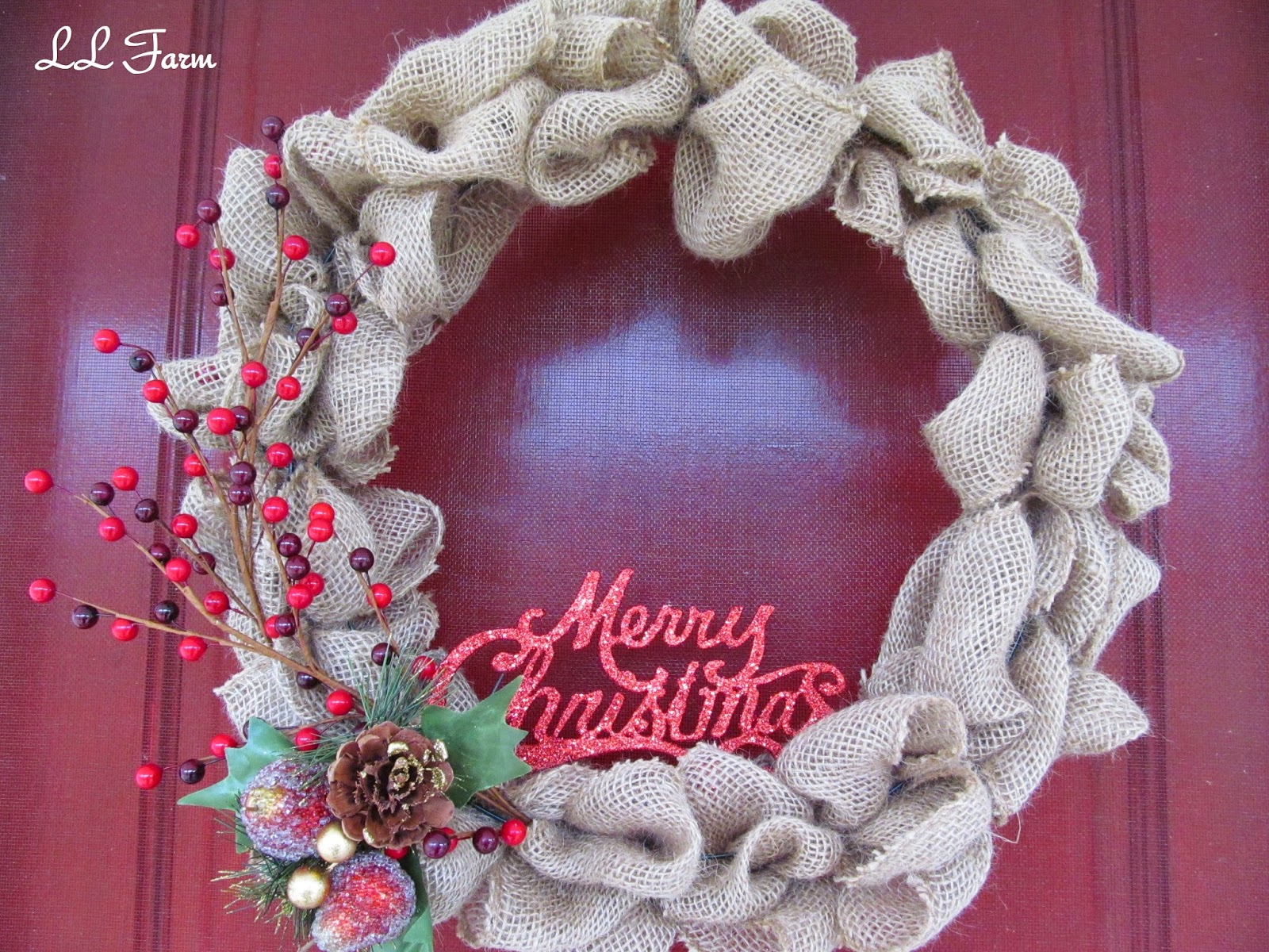 last week i made a burlap wreath to see how i made it click here today i want to show how i decorated it for my front door all decked out for - Burlap Christmas Door Decorations