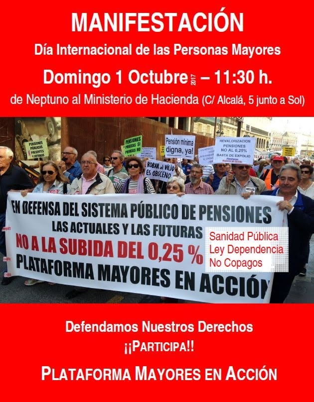 1 octubre Manifestación Pensiones Dignas
