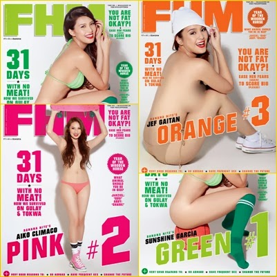 Green, pink or orange? Get Sunshine, Aiko and Jef on the cover of FHM Philippines