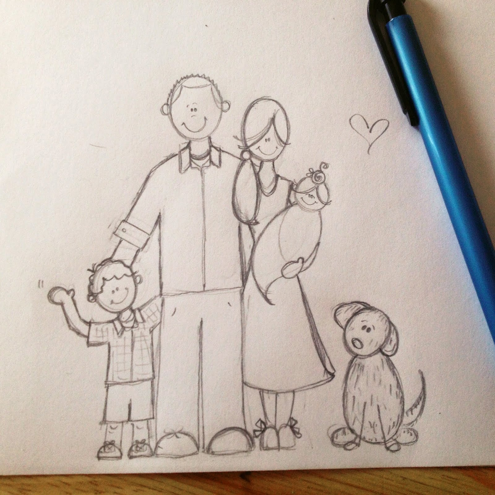 Family portraits before and after sketch process