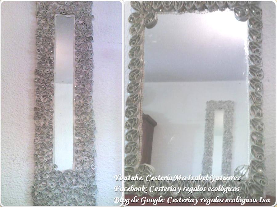 Espejo con tubos de papel - Espejo de papel ...