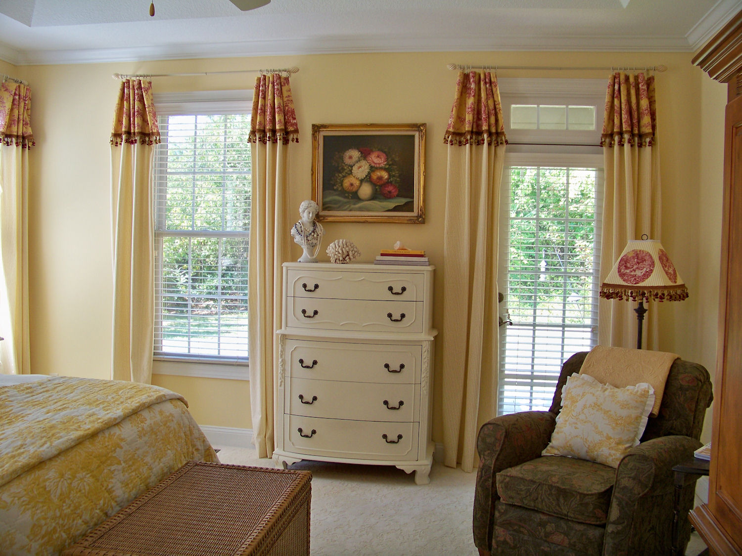The comforts of home master bedroom curtain reveal for Bedroom curtain ideas