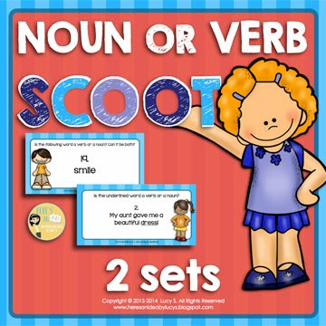 Noun or Verb Scoot - 2 sets of 35 Task Cards
