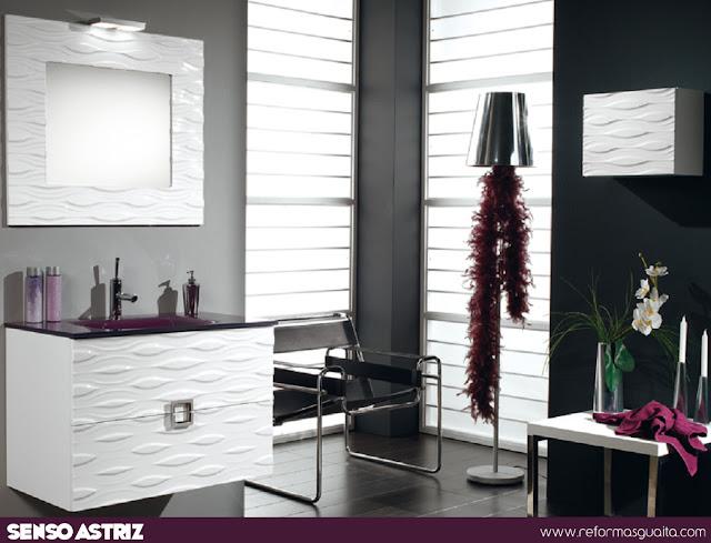 mueble baño blanco laca alto brillo astriz