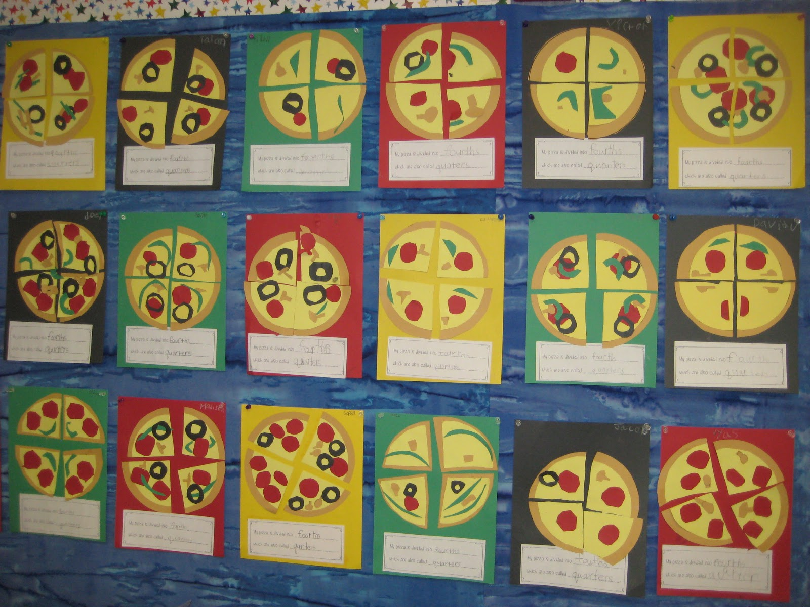 finally in first: free pizza fractions craft