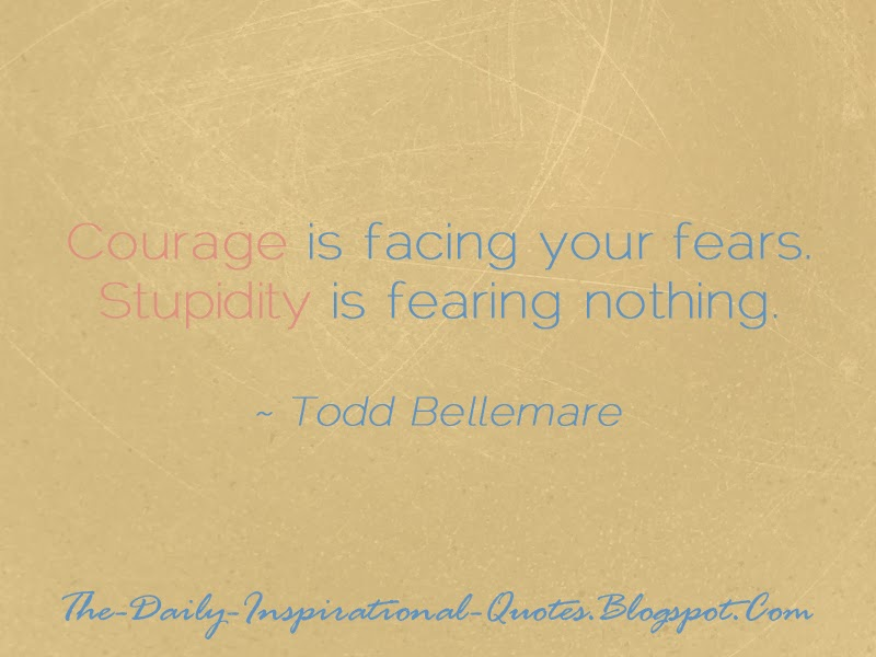 Courage is facing your fears. Stupidity is fearing nothing. - Todd Bellemare
