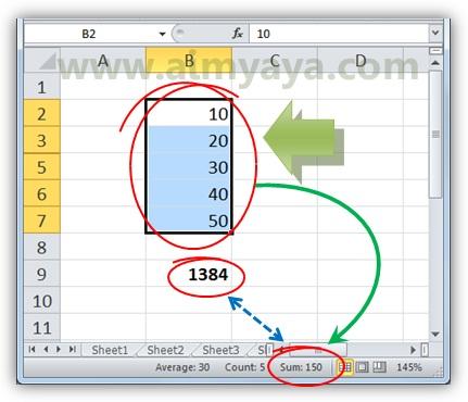Gambar: Contoh cara membandingkan nilai hasil penjumlahan dengan nilai penjumlahan bilangan yang ditampilkan di microsoft excel