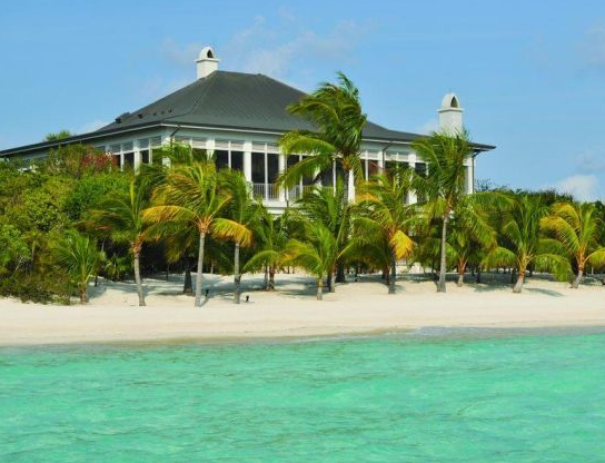 exterior of manor house on private island property in exuma chain of bahamas islands