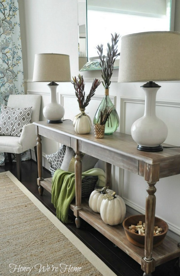 Honey we re home fall decor console styling