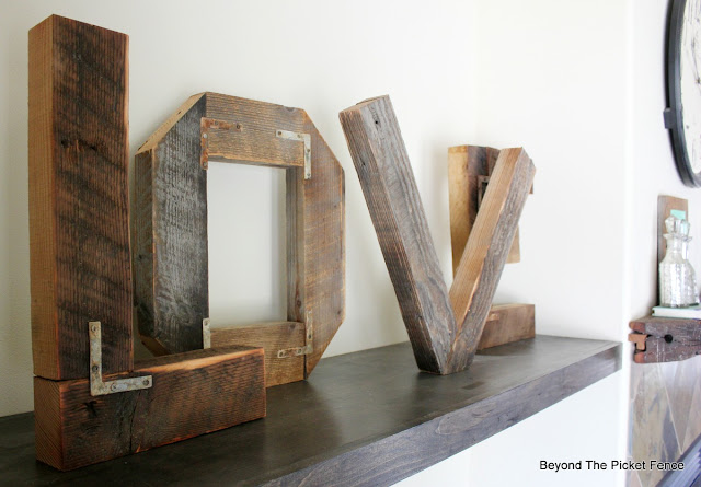 reclaimed wood, rustic, letters, barnwood, big letters, love, beyond the picket fence, rusty, wedding decor