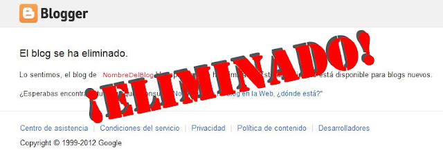 El Blog fue eliminado por hacer spam en Blogger