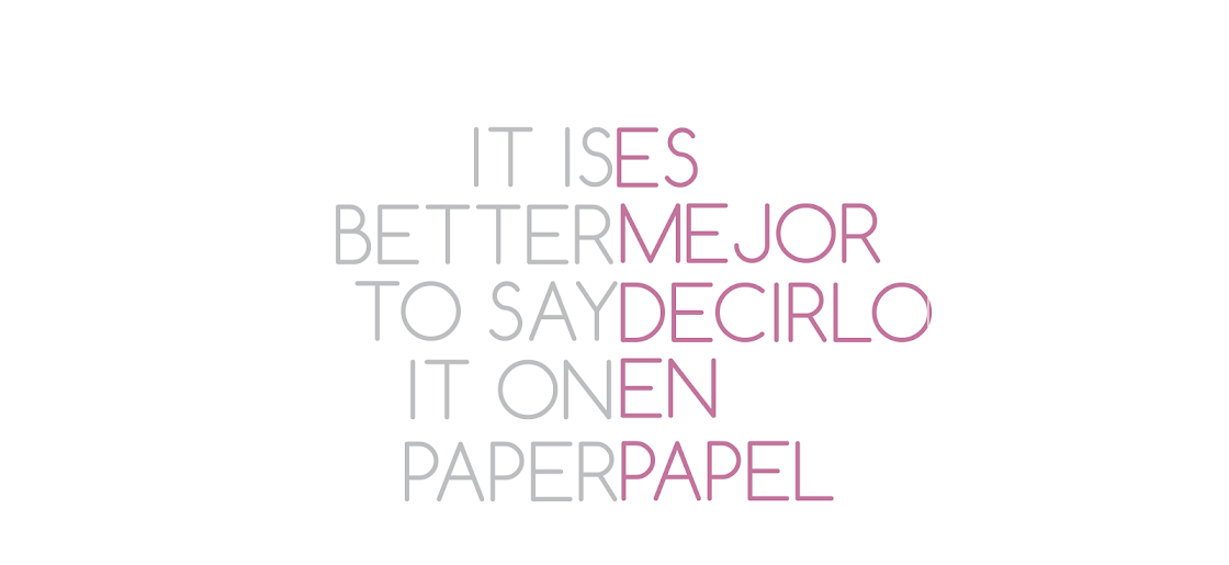 ES MEJOR DECIRLO EN PAPEL- IS BETTER TO SAY IT ON PAPER