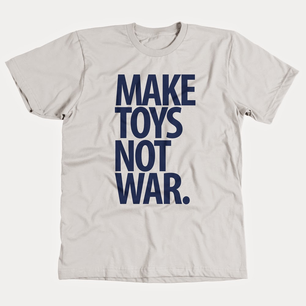 """Make Toys, Not War"" Blue & White T-Shirt by Pobber Toys"