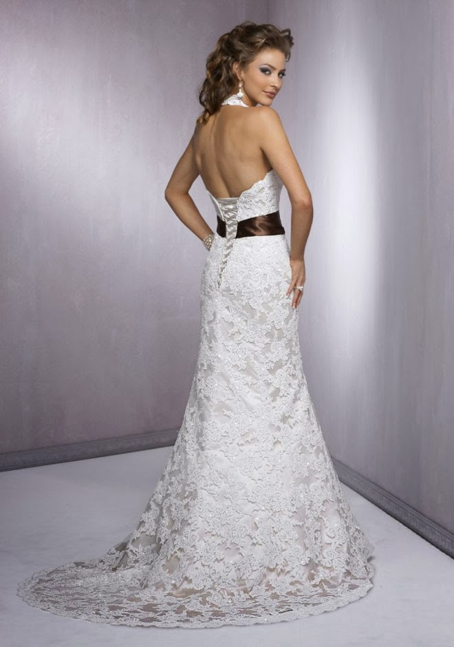 Lace Wedding Dress With Open Back : Open back lace wedding dress