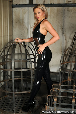 Natalia Forrest Tight Black Shiny Latex Dress and Stockings