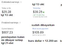 Gajian Google Adsense Bulan Oktober 2014