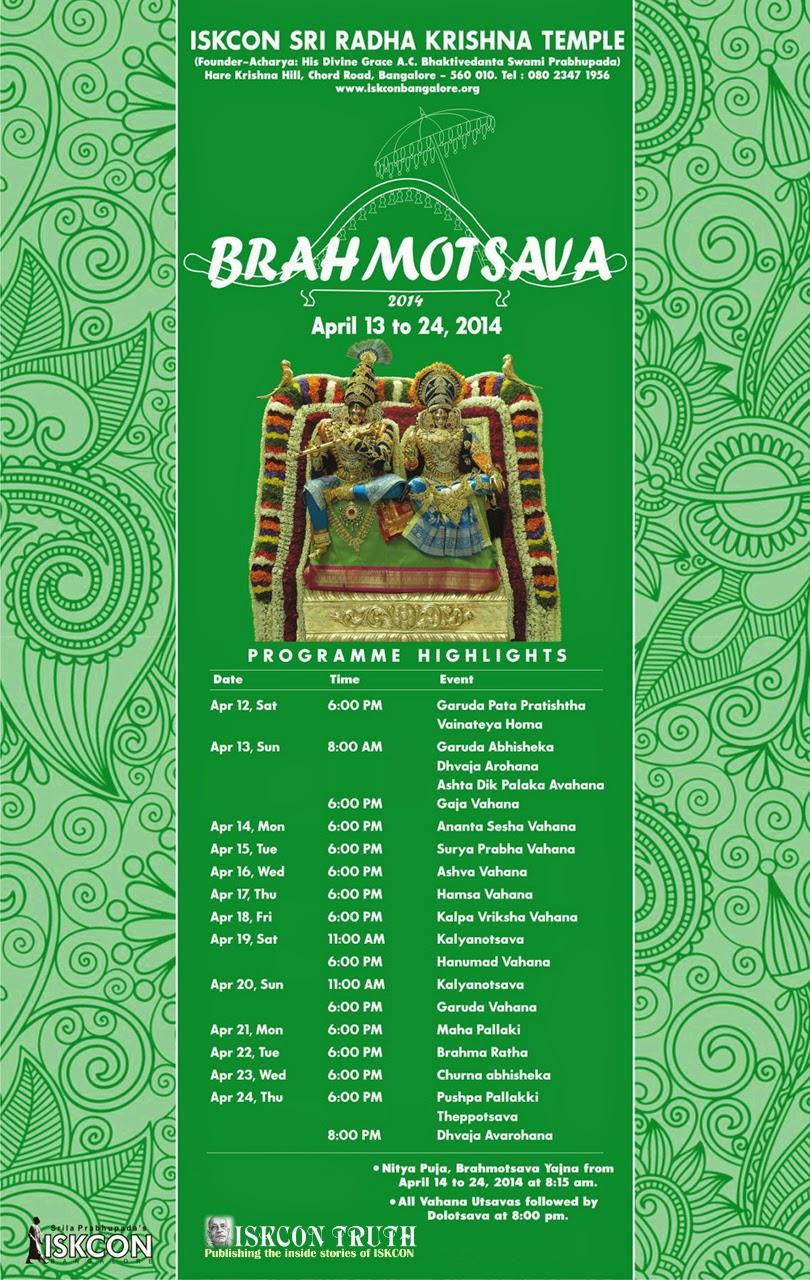 iskcon bangalore, Brahmotsavam, Brahmotsava, Full Schedule, iskcon