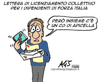 Forza Italia, licenziamenti, finanziamento pubblico, apicella, berlusconi, vignetta satira