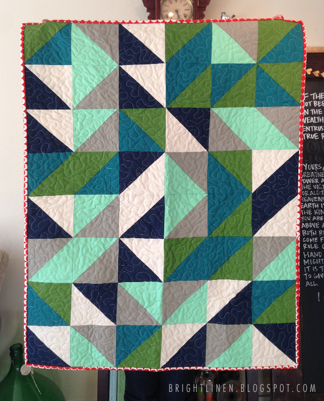 Quilt Patterns Quarter Square Triangles : Bright Linen: Tutorial: Fat Quarter Half Square Triangle Baby Quilt