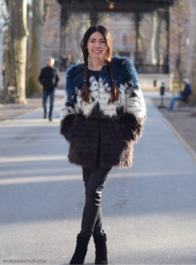 what to wear in winter - faux fur coat and braids, daily street fashion, Ana Josipović