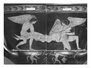 Hypnos e Thanatos carregando um cara