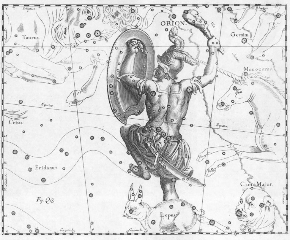 Chòm sao Orion. Hình vẽ bởi Johannes Hevelius. Nguồn : Wikimedia.