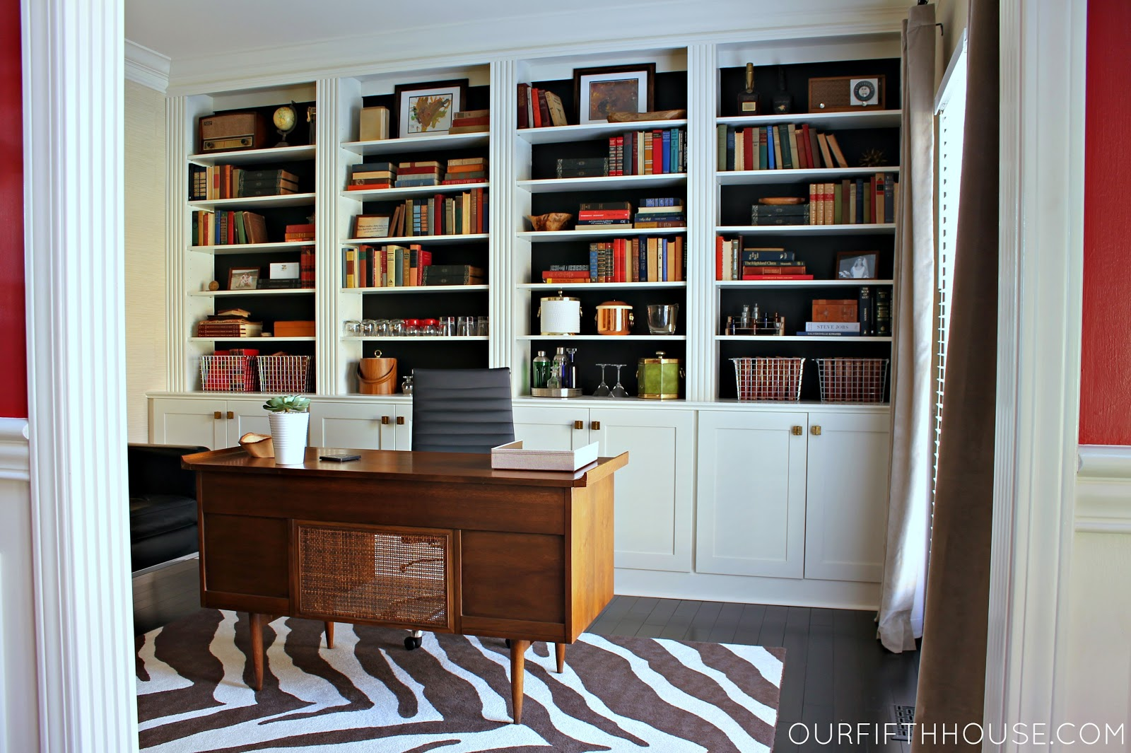home office with new built in bookcases