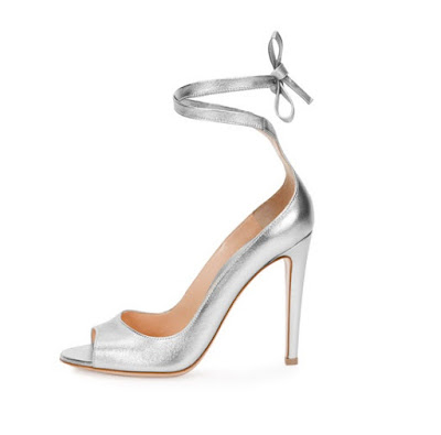 Gianvito Rossi silve high heeled peep toe pumps with ankle tie strap