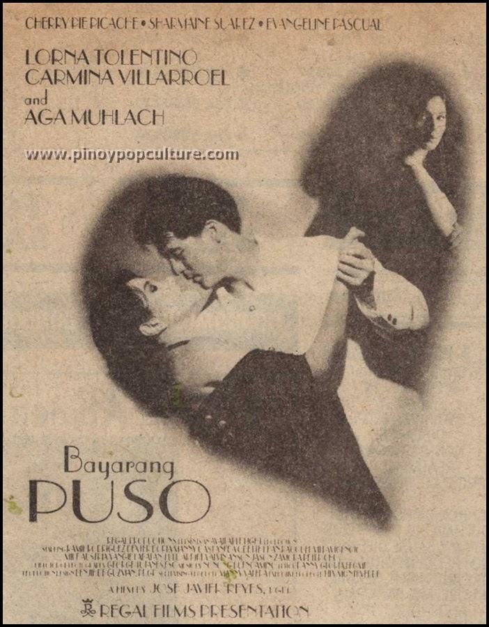 Bayarang Puso, 1996, Manila Film Festival, Lorna Tolentino, Carmina Villarroel, Aga Muhlach, Jose Javier Reyes, Regal Films
