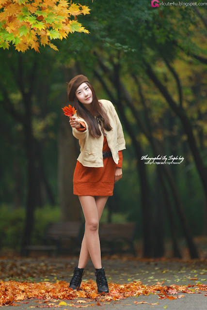 Park-Hyun-Sun-Autumn-Orange-Dress-06-very cute asian girl-girlcute4u.blogspot.com