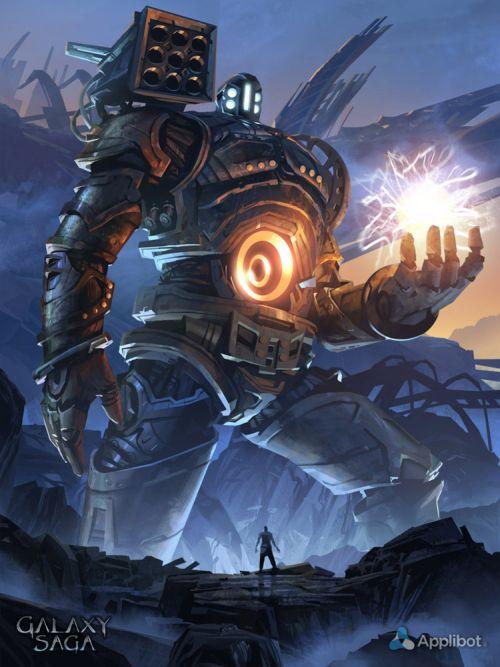 Anthony Wolff waart pinturas ilustrações digitais fantasia ficção Robô gigante