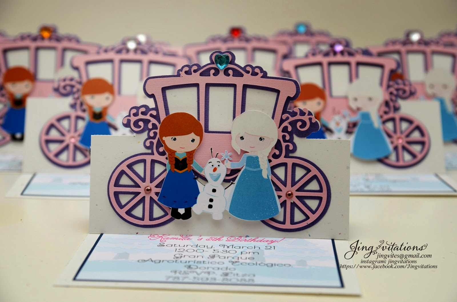handmade invitations, frozen fever